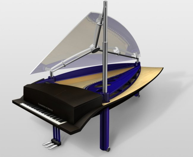 Piano Klavins blue metallic, model 408