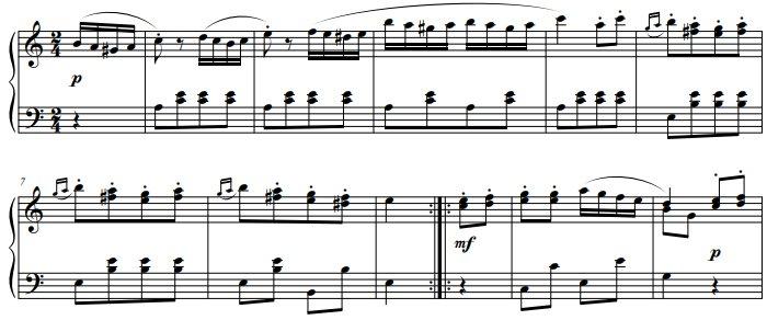 Premier thème de la marche turque de Mozart, partition.