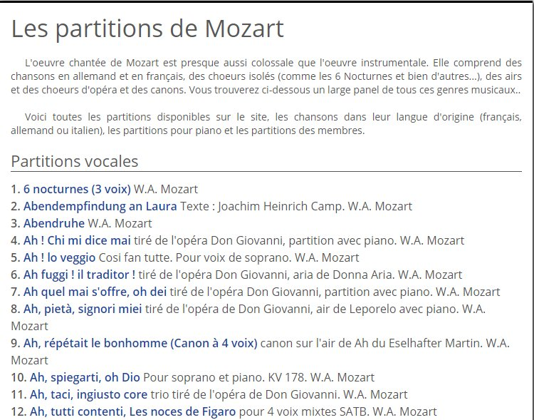 Mozart sur partitionsdechansons.com